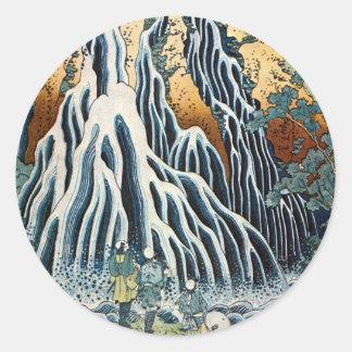 きりふりの滝, 北斎 Kirifuri fällt, Hokusai, Ukiyo-e Runder Aufkleber