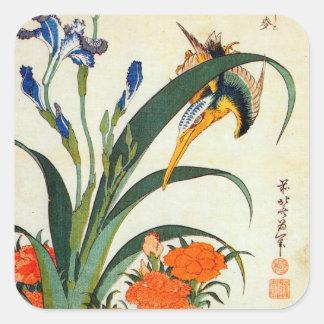 アヤメにカワセミ, 北斎 Iris und Eisvogel, Hokusai, Ukiyo-e Quadratischer Aufkleber