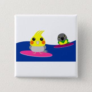 オカメインコオウムパロット Cockatiel- u. Senegal-Papagei Surfen Quadratischer Button 5,1 Cm