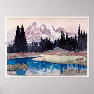 レーニア山, der Mount Rainier, Hiroshi Yoshida, Poster