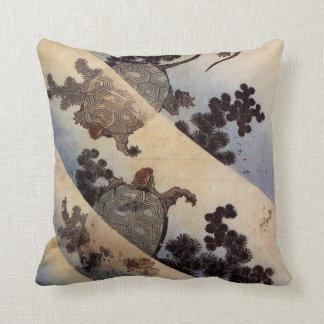 亀 北斎 Schildkröten Hokusai Ukiyo-e Zierkissen