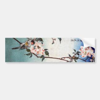 八重桜に鳥, 広重 Kirschblüte u. Vogel, Hiroshige, Ukiyoe Autoaufkleber
