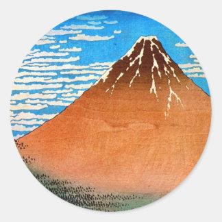 凱風快晴 (赤富士), 北斎 der rote Fujisan, Hokusai, Ukiyo-e Runder Sticker