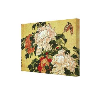 北斎 Hokusai Pfingstrosen-u. Schmetterlings-schöne Leinwanddruck