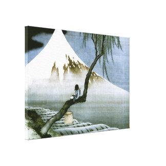 北斎 Junge u. schöne Kunst Mt Fuji Leinwanddruck