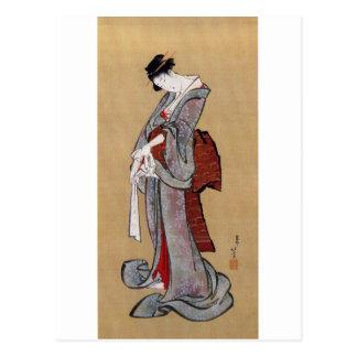 女, 北斎 Frau, Hokusai, Ukiyo-e Postkarte