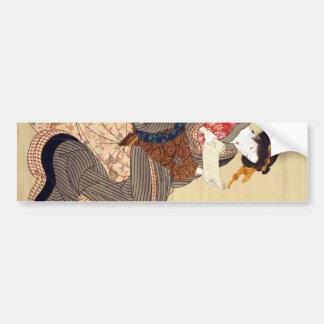 女, 国貞 Frau, Kunisada, Ukiyo-e Autoaufkleber