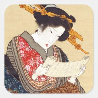 女, 国貞 Frau, Kunisada, Ukiyo-e Quadratischer Aufkleber