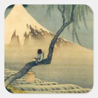 富士と少年, 北斎 der Fujisan und Junge, Hokusai, Ukiyo-e Quadratsticker