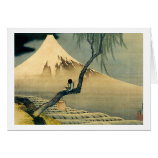 富士と少年, 北斎 der Fujisan und Junge, Hokusai, Ukiyo-e Grußkarte