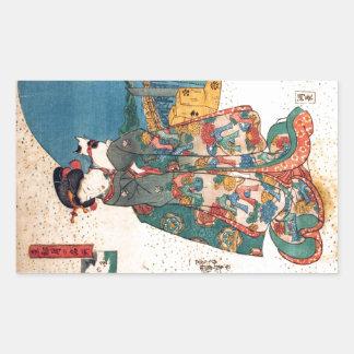 少女と猫, 国芳 Mädchen mit Katze, Kuniyoshi, Ukiyo-e Rechtecksticker