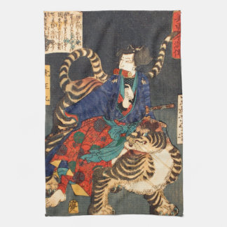 忍者と虎, 芳年 Ninja Held u. Tiger, Yoshitoshi, Ukiyo-e Küchenhandtücher