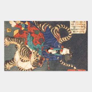 忍者と虎, 芳年 Ninja Held u. Tiger, Yoshitoshi, Ukiyo-e Rechteckiger Aufkleber