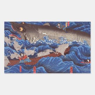 怪物鮫, 国芳 Monster-Haifisch, Kuniyoshi, Ukiyo-e Rechteckiger Aufkleber