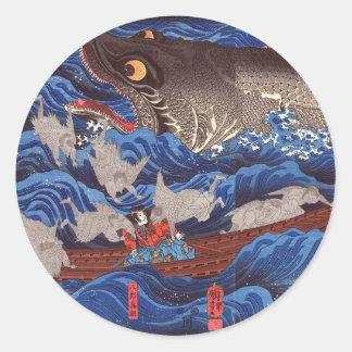 怪物鮫, 国芳 Monster-Haifisch, Kuniyoshi, Ukiyo-e Runder Aufkleber
