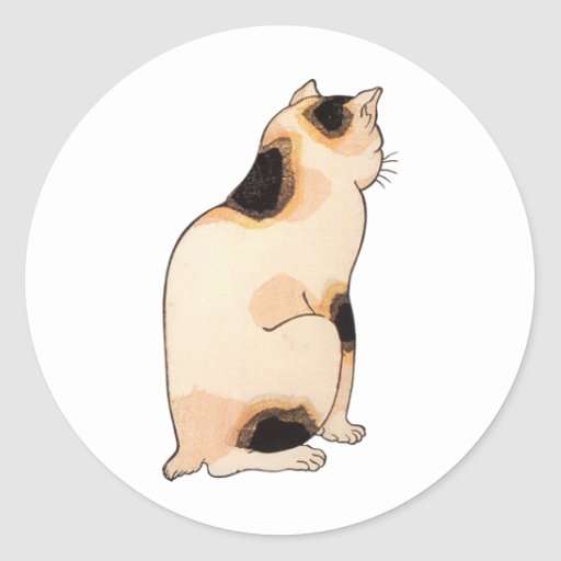 日本猫, 国芳 japanische Katze, Kuniyoshi, Ukiyo-e Runder Aufkleber