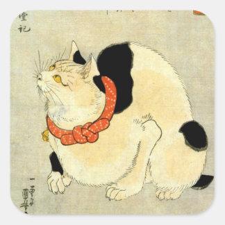 日本猫, 国芳 japanische Katze, Kuniyoshi, Ukiyo-e Quadratischer Aufkleber
