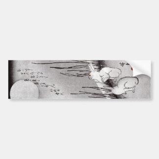 月に兎, 広重 Mond und Kaninchen, Hiroshige, Ukiyo-e Autoaufkleber