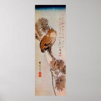 月夜のみみずく, 広重 Mondschein-Eule, Hiroshige, Ukiyo-e Posterdrucke