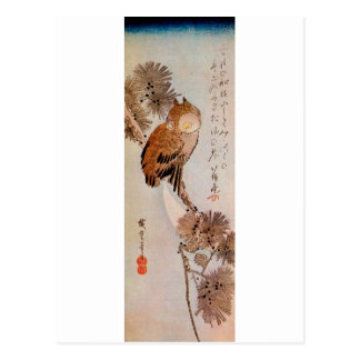 月夜のみみずく, 広重 Mondschein-Eule, Hiroshige, Ukiyo-e Postkarte