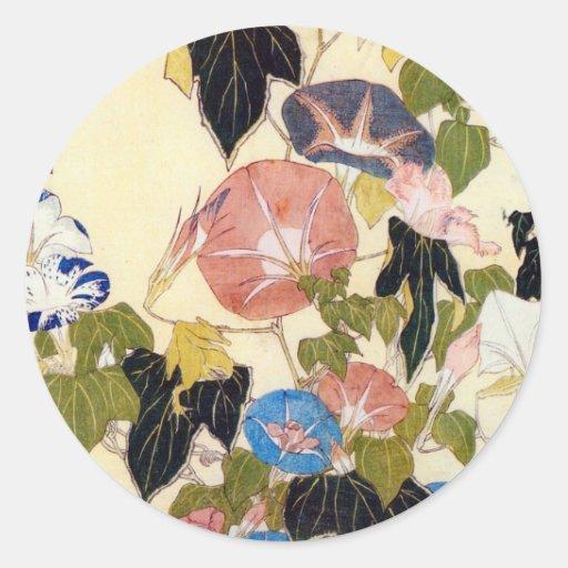 朝顔, 北斎 Winde, Hokusai, Ukiyo-e Sticker