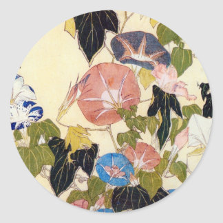 朝顔, 北斎 Winde, Hokusai, Ukiyo-e Runder Aufkleber