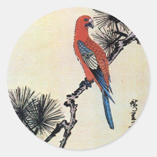 松にインコ, 広重 Kiefer und Parakeet, Hiroshige, Ukiyo-e Runde Sticker