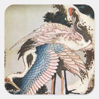 松に鶴, 北斎 streckt sich auf Kiefer, Hokusai, Ukiyo-e Quadrat-Aufkleber