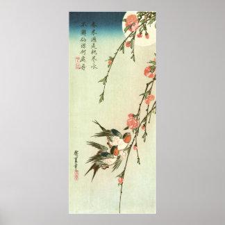 桃の花に燕, 広重 Pfirsich-Blüte und Schwalbe, Hiroshige Posterdrucke
