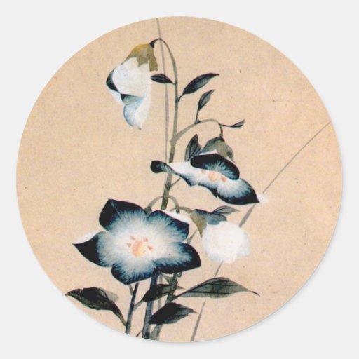 桔梗, 北斎 chinesische Glockenblume, Hokusai Ukiyo-e Runde Aufkleber