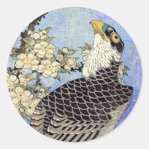 桜にハヤブサ, Falke-u. Kirschblüten, Hokusai, Ukiyo-e Sticker