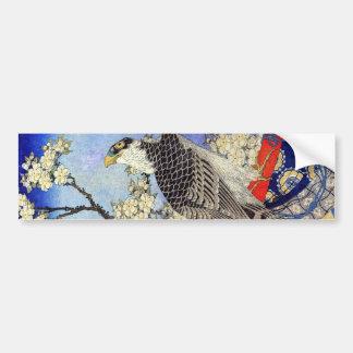 桜にハヤブサ, Falke-u. Kirschblüten, Hokusai, Ukiyo-e Autoaufkleber