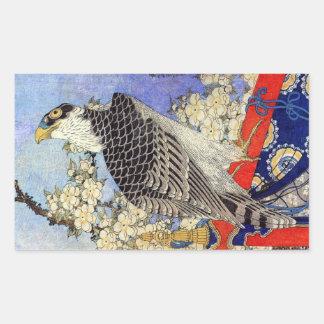 桜にハヤブサ, Falke-u. Kirschblüten, Hokusai, Ukiyo-e Rechteckiger Aufkleber