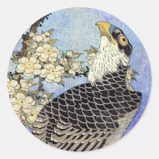 桜にハヤブサ, Falke-u. Kirschblüten, Hokusai, Ukiyo-e Runder Aufkleber