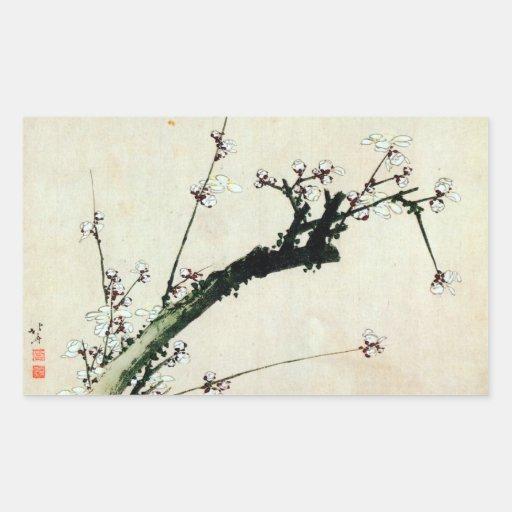 梅花, 北斎 Pflaume blüht, Hokusai, Ukiyo-e Rechrteckaufkleber