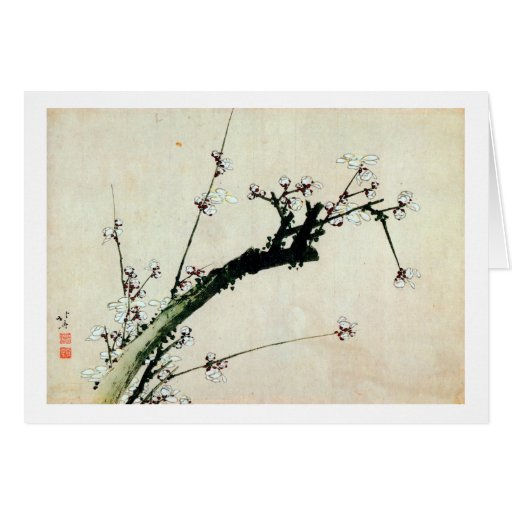 梅花, 北斎 Pflaume blüht, Hokusai, Ukiyo-e Karte