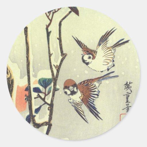 椿に雀, 広重 Kamelie und Spatz, Hiroshige, Ukiyo-e Runde Aufkleber