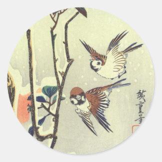 椿に雀, 広重 Kamelie und Spatz, Hiroshige, Ukiyo-e Runder Aufkleber