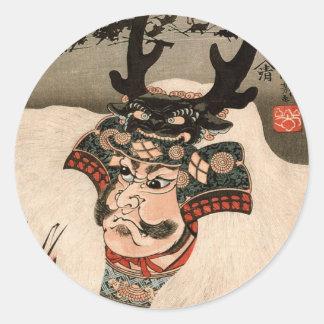 武田信玄, 国芳 Takeda Shingen, Kuniyoshi, Ukiyo-e Runder Aufkleber