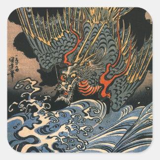 海龍, 国芳, Seedrache, Kuniyoshi, Ukiyo-e Quadrat-Aufkleber