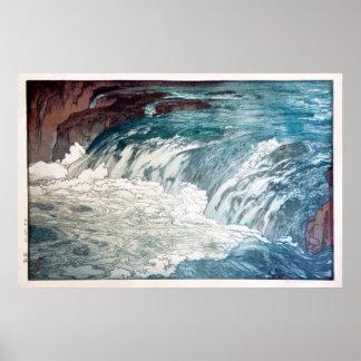渓流, Rapids, Hiroshi Yoshida, Holzschnitt Poster
