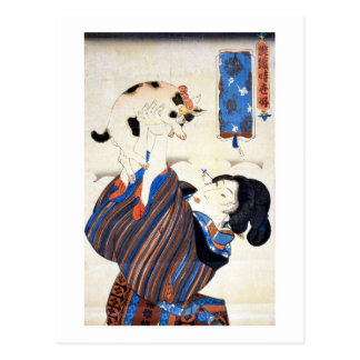 猫と女, 国芳 Katze und Frau, Kuniyoshi, Ukiyo-e Postkarte