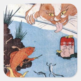 猫と金魚, 国芳 Katze und Goldfisch, Kuniyoshi, Ukiyo-e Quadratsticker