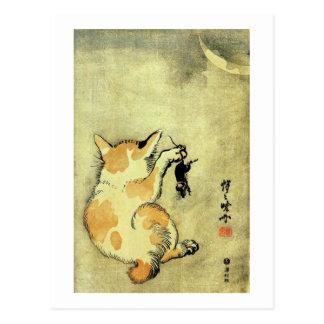 猫と鼠, 暁斎 Katze und Maus, Kyōsai, Ukiyo-e Postkarte