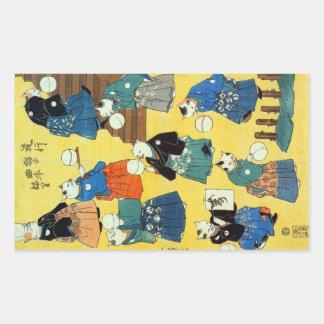 猫の曲芸師, 国芳 Akrobat der Katzen, Kuniyoshi, Ukiyo-e Rechteckige Aufkleber