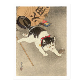猫, 古邨 Katzen-anziehende Maus, Ohara Koson, Ukiyo-e Postkarte