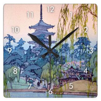 猿澤池, Sarusawa Teich, Hiroshi Yoshida, Holzschnitt Wanduhr