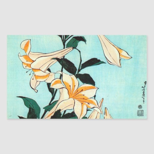 百合, 北斎 Lilie, Hokusai, Ukiyo-e Rechteckige Sticker
