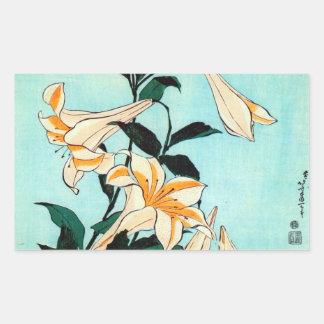 百合, 北斎 Lilie, Hokusai, Ukiyo-e Rechteckiger Aufkleber