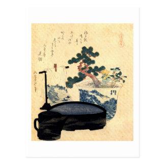 盆栽, 北斎 Bonsai, Hokusai, Ukiyo-e Postkarte